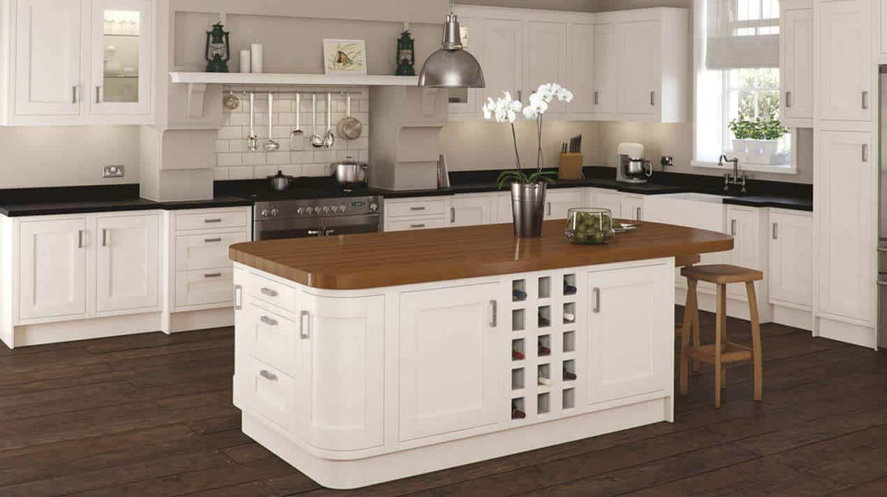 ivory fitted kitchen units with island