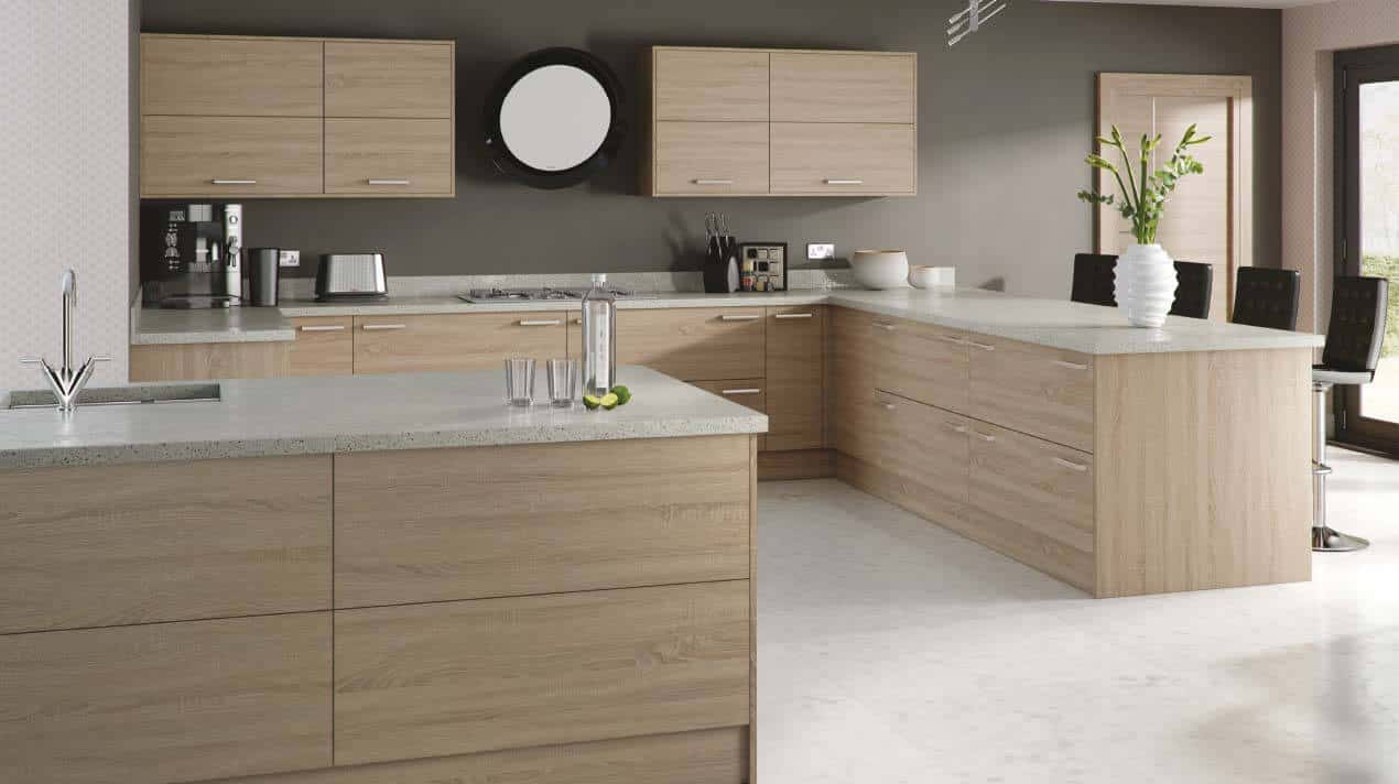 White Kitchen Cabinets With Stained Doors