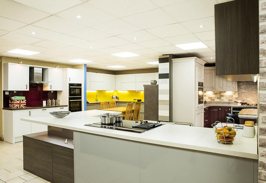 modern kitchen showroom bury