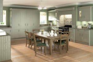 Wood Framed Painted Sage Grey Kitchen
