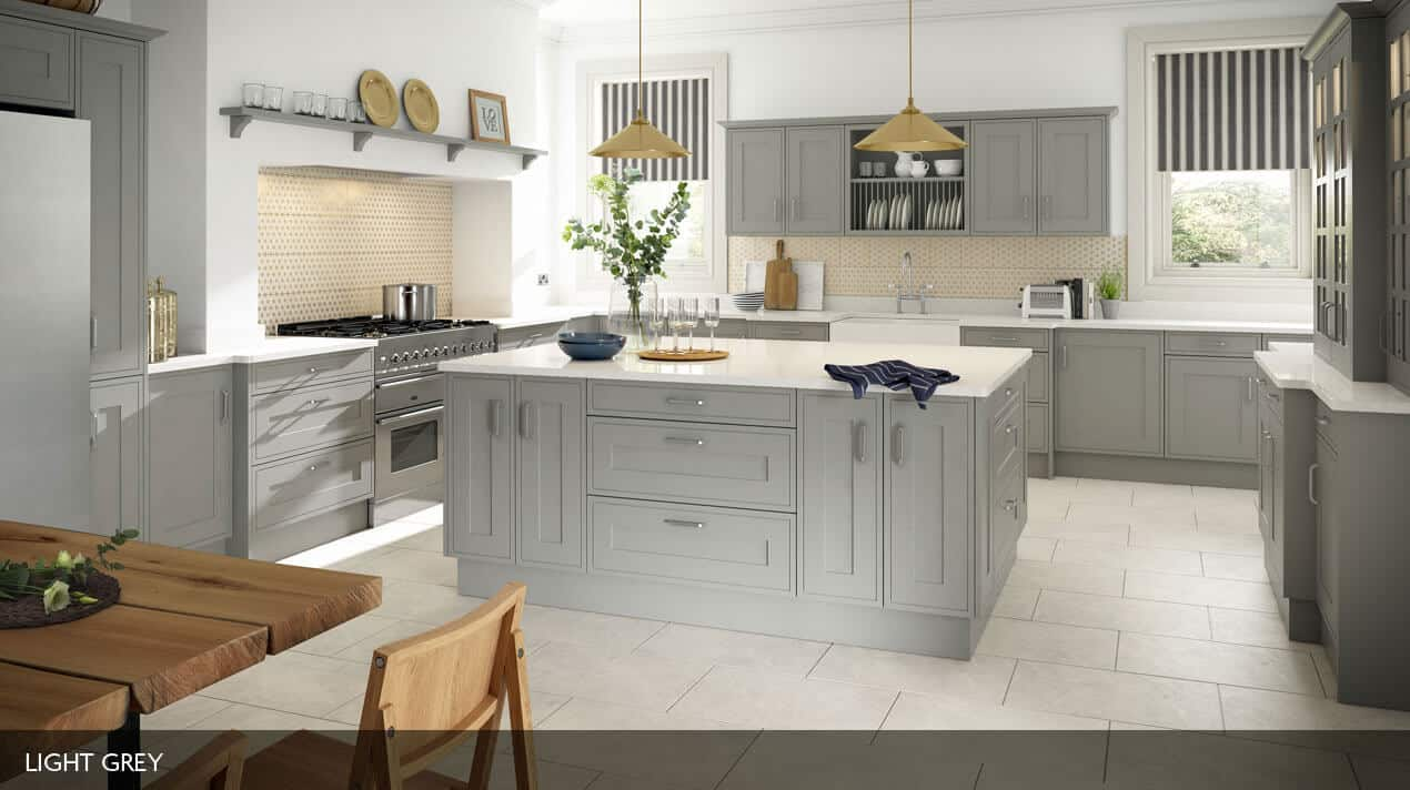 painted traditional large fitted kitchen