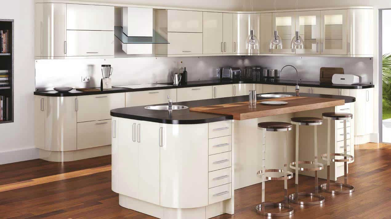 Gloss stone kitchen design
