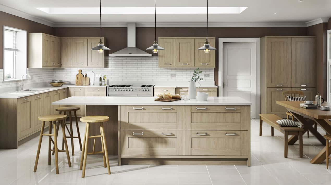 Sand Oak Shaker Kitchen Design