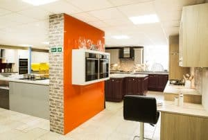 Modern kitchen design with range featured wall