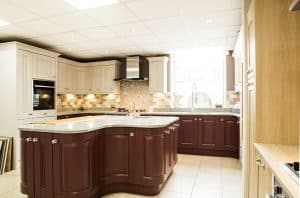 dark wood fitted kitchen from bury