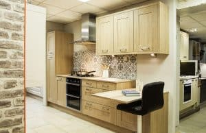modern fitted kitchen in oak